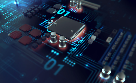 3d render of futuristic blue circuit board